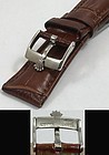 ROLEX DATE Model 16mm Steel Logo Buckle 19mm Brown Leather Strap