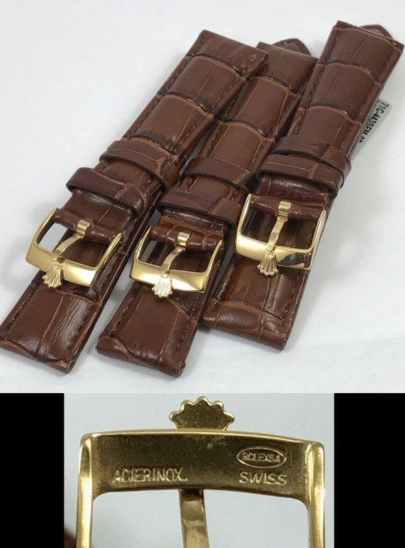 Rolex 16mm 18k Gold Plate Logo Buckle 19mm Crocodile Pattern Strap