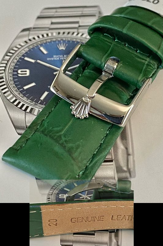 ROLEX 16mm Logo Buckle Steel 20mm GREEN Leather Strap SUISSE QUALITE