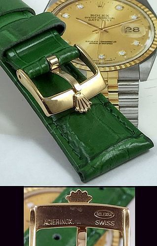 ROLEX 18mm Yellow Logo Buckle 20mm GREEN Crocodile Pattern Leather