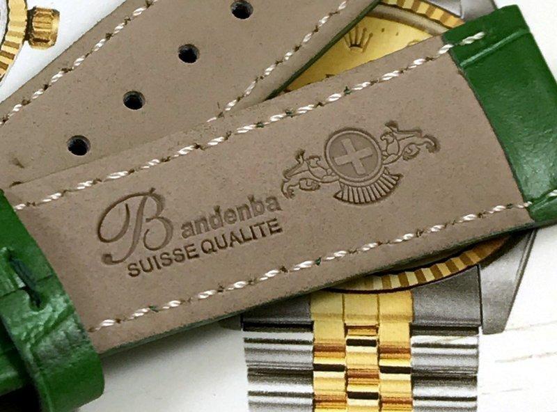 ROLEX 18mm Yellow Logo Buckle 20mm GREEN Crocodile Pattern Leather