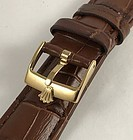 ROLEX 16mm 18k Gold Plate Logo Buckle 19mm Croco Calf Brown Strap