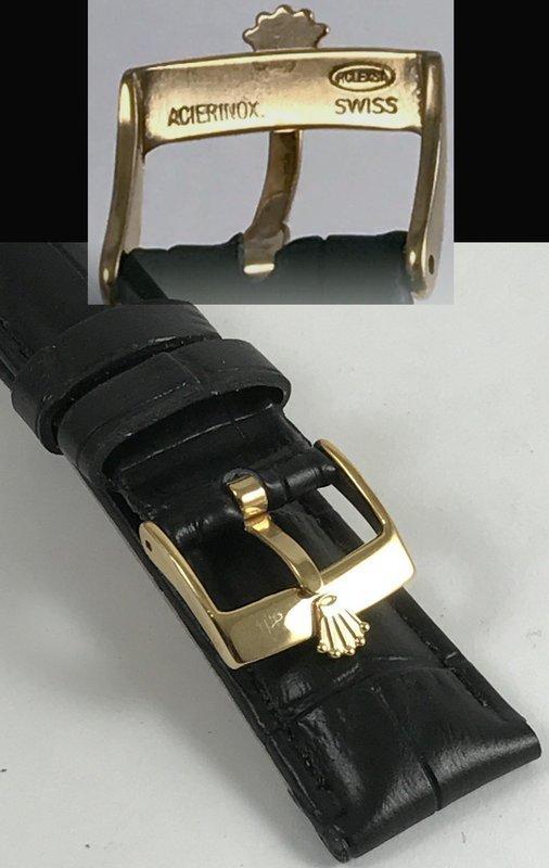 ROLEX 16mm 18k GOLD Plate Logo Buckle 19mm Black Croco Pattern