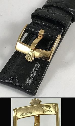 ROLEX 16mm 18k Gold Plate Logo Buckle 20mm Crocodile Pattern