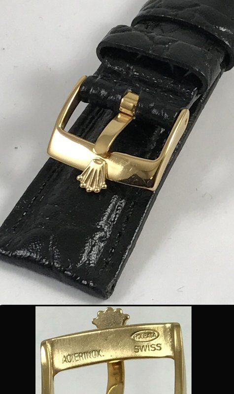 ROLEX 16mm 18k Gold Plate Logo Buckle 20mm Black Crocodile Pattern