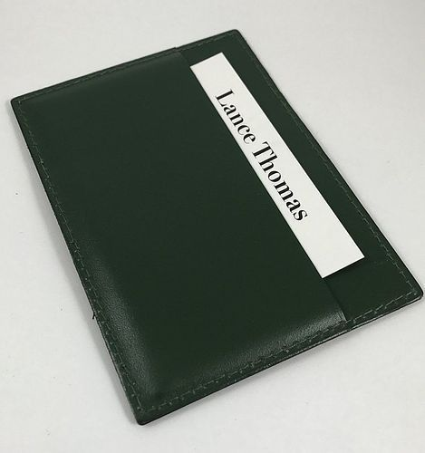 ROLEX CREDIT CARD & I.D. Holder Genuine Green Leather 4.5 by 3.5 inch