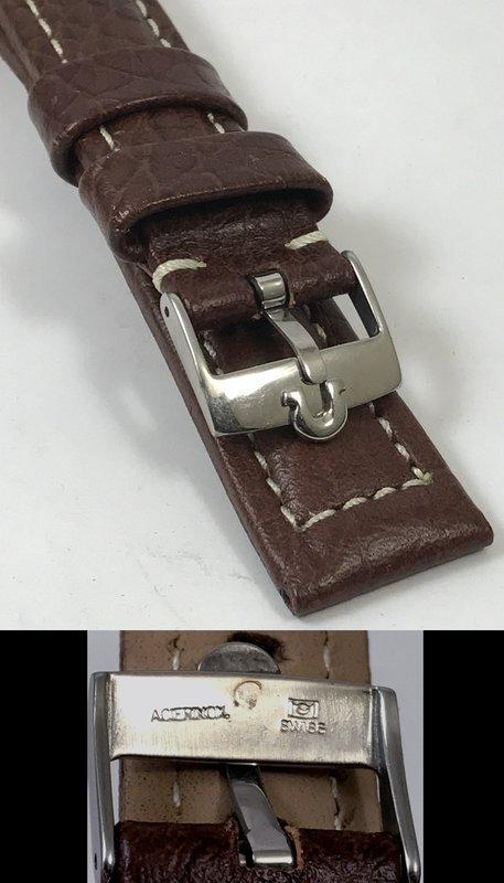OMEGA SPEEDMASTER Series 18mm Steel Logo Buckle 20mm Dk Brown Leather