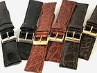Genuine CROCODILE 22mm by 18mm buckle fit THREE COLOR choice