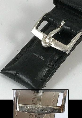 Vintage Omega 16mm Silver Logo Buckle 18mm Black Croco Calf C: 1968