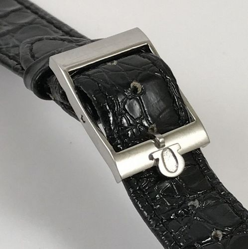 Vintage OMEGA 15mm Logo Steel Buckle on a 18mm Black ALLIGATOR Strap