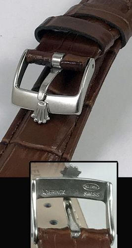 ROLEX SPORT Model 16mm Steel Buckle 20mm Brown Crocodile Calf Strap