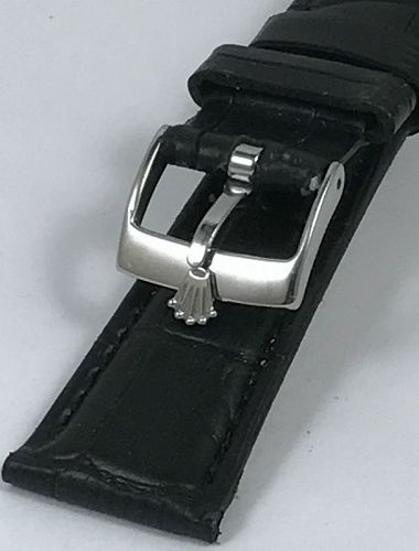 ROLEX SPORT Model 16mm Steel Buckle 20mm Black Crocodile Calf Strap