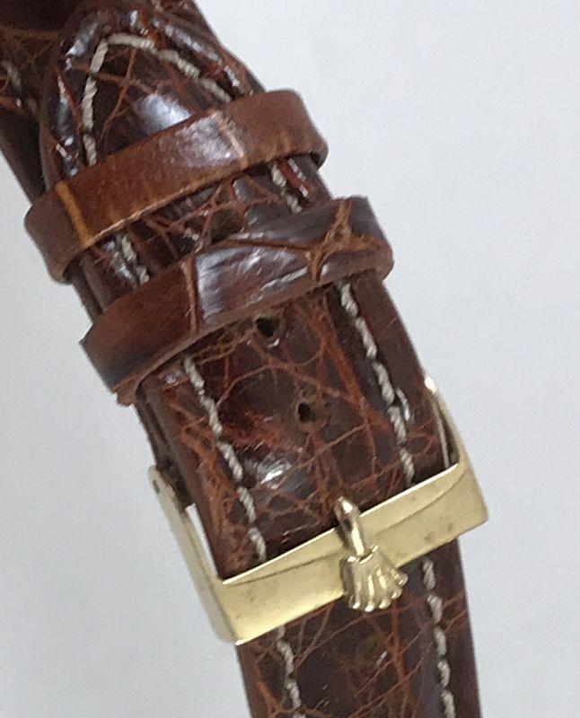 Vintage ROLEX 14k GOLD 19mm Logo Buckle 20mm COGNAC CROCODILE Strap