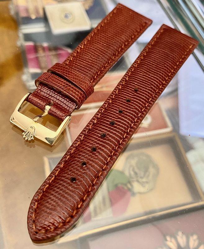 ROLEX 16mm 18k GOLD Buckle 19mm Cognac Genuine LIZARD Strap