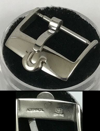 OMEGA 18mm Steel Logo Buckle PLAIN FLAT SWISS in Package