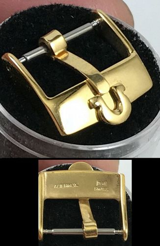 OMEGA 16mm Yellow 18k Gold Plate Logo Buckle ACIERINOX S SWISS