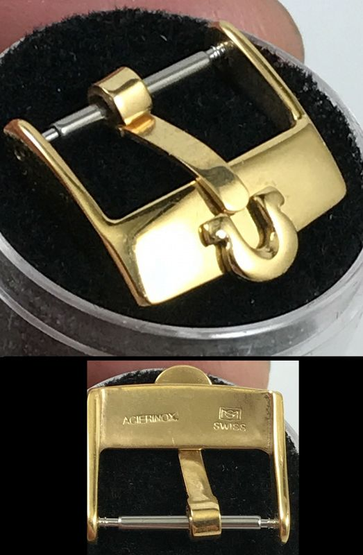 OMEGA 16mm Yellow 18k Gold Plate Logo Buckle ACIERINOX S SWISS