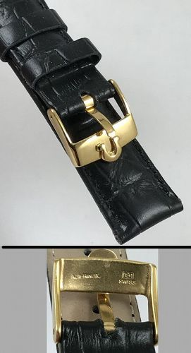 OMEGA Constellation Model 16mm Logo Buckle 18mm Black Croco Strap