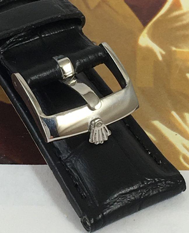 Rolex DATE Style 16mm Steel Logo Buckle 19mm Croco Leather