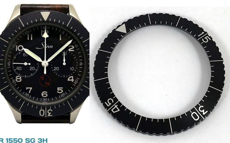 "HEUER MILITARY ""BUND"" Flyback chronograph 1550 SG BLACK BEZEL INSERT"