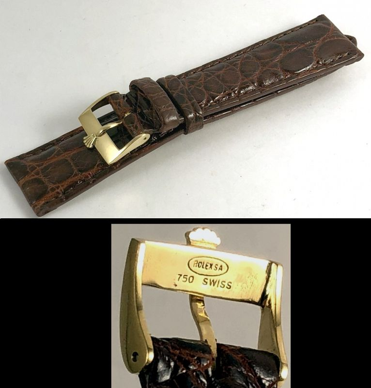 ROLEX PRESIDENT 1803 Model 16mm Buckle 18k Gold 20mm Cognac CROCODILE