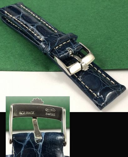 ROLEX 18mm Steel Logo Buckle 20mm ROYAL BLUE genuine CROCODILE