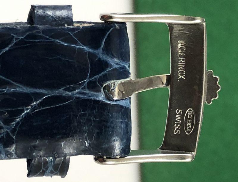ROLEX 18mm Steel Logo Buckle 20mm ROYAL BLUE genuine CROCODILE