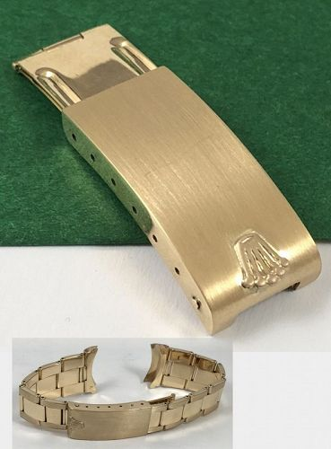 ROLEX 18k GOLD Riveted Link DEPLOYMENT CLASP DATE DAYTONA 19mm fit