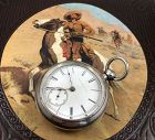 ELGIN Key Wind WILD WEST COWBOY 15j Original 4oz COIN SILVER 1873