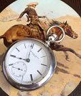 ROCKFORD 4oz. COIN SILVER Key Wind WILD WEST COWBOY 1880