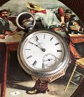 WALTHAM 18s BOX HINGED WILD WEST GAMBLERS Watch 1883