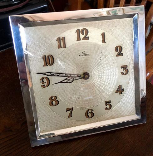 Rare OMEGA 1930 Art Deco Mantel Clock 8 X 8 inch Rectangular 1930