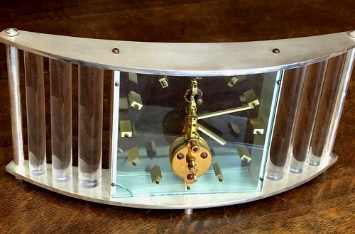 Jager LeCoultre 2-Tone Table Clock 8 DAY Merchandised by CARTIER