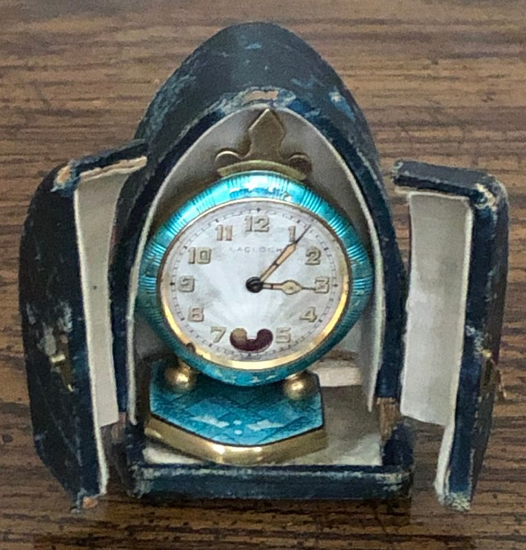 Torqueise Blue Cloisonne Swiss TRAVEL CLOCK 41mm Original Dial 1890