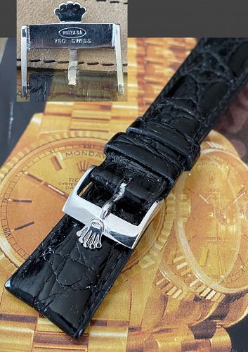 ROLEX 18k WHITE GOLD vintage buckle 20mm Black CRODOCILE Strap 1968