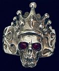 KING BABY SKULL with CROWN Red Ruby Eyes .925 Fine 1998 Massive 2003