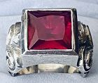 KING BABY FLUEURD DU MAL Genuine Red Ruby Ring .925 Fine 2003