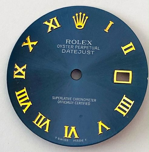 ROLEX DateJust ROYAL BLUE Dial with Applied Gold Roman Figures