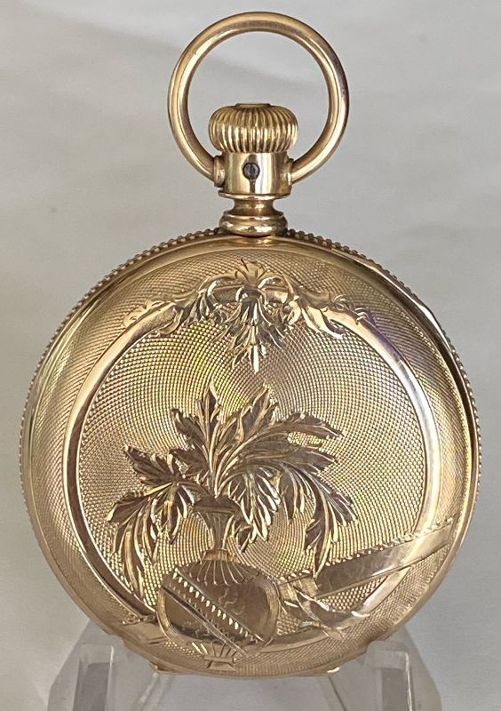 COLOMBUS W. Co. 10k solid YELLOW GOLD fancy 6s HUNTING CASE 1880