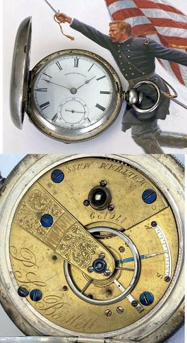 American Watch Co. P.S. Bartlett CIVIL WAR 3oz. Silver Hunting 1864