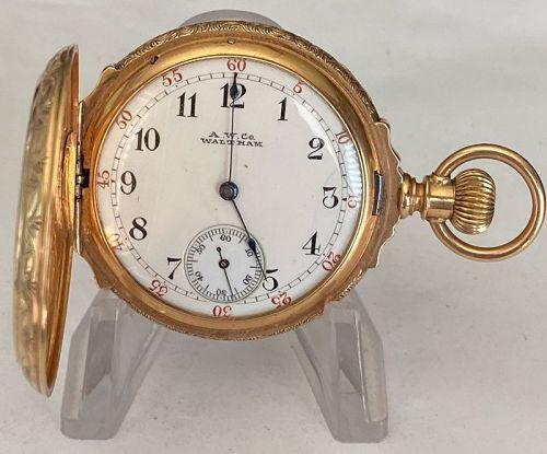 WALTHAM 14k GOLD BOX HINGED O Size fancy HUNTING CASE 1886