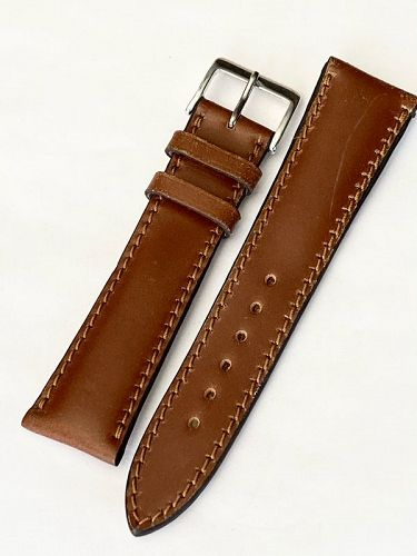 ROIS1931 CHICAGO Shell Cordovan 22/20mm Leather Watch Strap in COGNAC