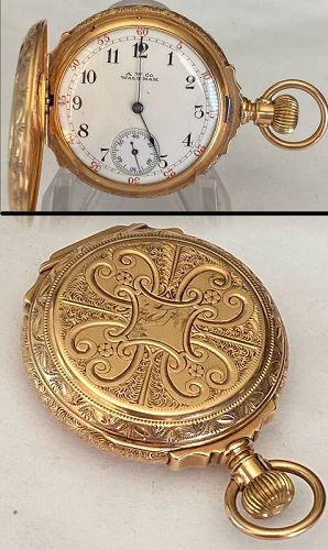 WALTHAM 14k GOLD BOX HINGED 3/O Size fancy HUNTING CASE 1886