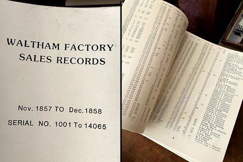 WALTHAM FACTORY SALES RECORDS: Nov. 1857 - Dec. 1858