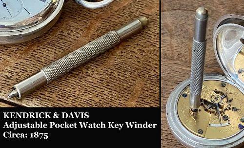 KENDRICK & DAVIS Adjustable Pocket Watch Key Winder Circa: 1875