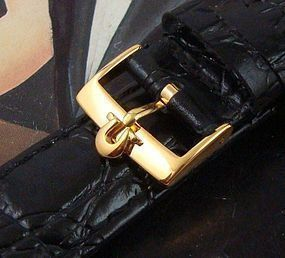 Omega 18mm Gold Plate Logo Buckle 20mm Crocodile Pattern Leather Str