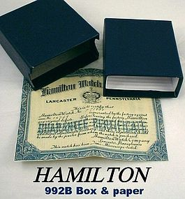 Hamilton Railroad Reissue 992B Box With Warrantee Paper