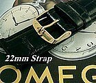 Omega Gold Plate Logo Buckle 22mm Black African Croco Strap  C: 1972