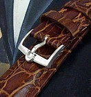 Vintage Omega 16mm Silver Buckle 18mm Cognac Leather Croco Calf Strap