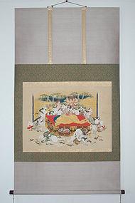 Painting, nehanzu with phallic substitutes, Japan, Edo